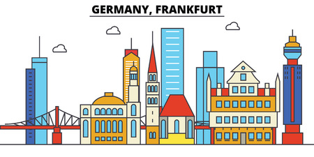 Illustration pour Germany, Frankfurt. City skyline:architecture, buildings, streets, silhouette, landscape, panorama, landmarks in Editable strokes, Flat design line illustration concept. - image libre de droit