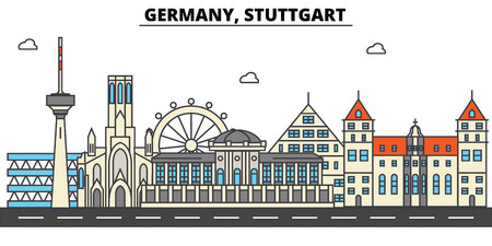 Illustration pour Germany, Stuttgart. City skyline: architecture, buildings, streets, silhouette, landscape, panorama, landmarks. Editable strokes Flat design line vector illustration concept. - image libre de droit
