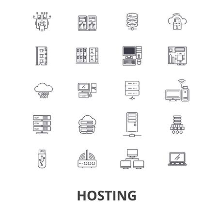 Ilustración de Hosting, hostess, web, server, cloud hosting, domain, computing, interne line icons. - Imagen libre de derechos