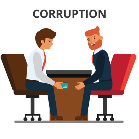 Illustration pour Businessman giving bribe money. Corruption, bribery. venality, kickback. Corrupted bureaucracy. Flat vector illustration isolated on white background. - image libre de droit