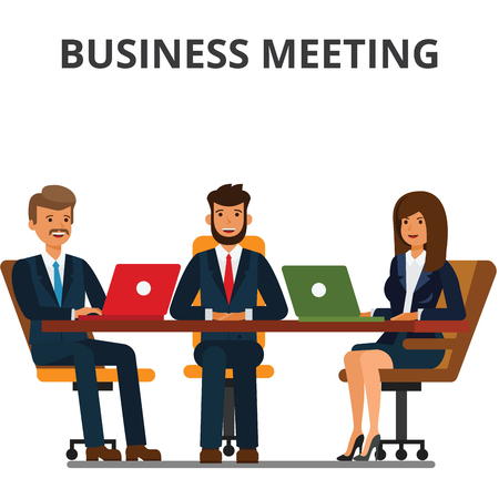 Ilustración de Business meeting. Businessmen and businesswoman sit at the table. Team work together, discussion, interviews, negotiations. Flat vector illustration isolated on white background. - Imagen libre de derechos