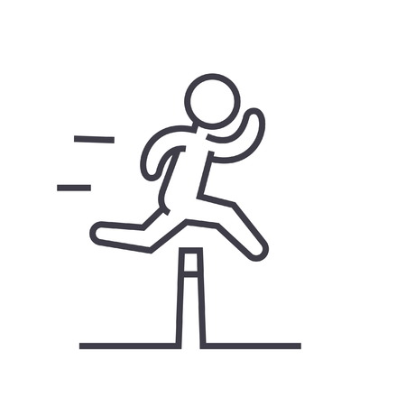 Ilustración de Obstacle race concept flat line illustration, concept vector isolated icon - Imagen libre de derechos