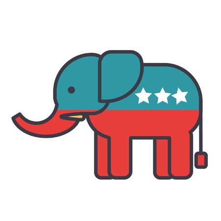 Illustration pour Elephant, usa, republican party flat line illustration, concept vector icon isolated on white background - image libre de droit