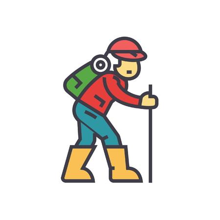 Ilustración de Traveler, hiking man flat line illustration, concept vector icon isolated on white background - Imagen libre de derechos