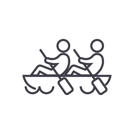 Ilustración de Team,teamwork,rowing in canoe line icon, sign, illustration on white background, editable strokes - Imagen libre de derechos