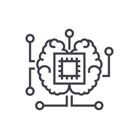 Illustration pour artificial intelligence, chip with brain vector line icon, sign, illustration on white background, editable strokes - image libre de droit