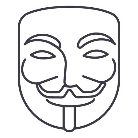 Illustrazione per anonymous,mask carnival,hacker vector line icon, sign, illustration on white background, editable strokes - Immagini Royalty Free