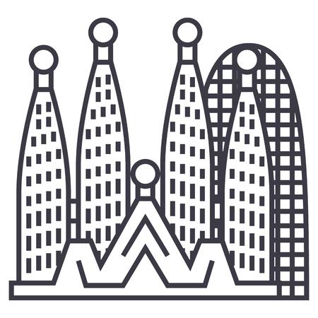 Ilustración de barcelona,sagrada familia vector line icon, sign, illustration on white background, editable strokes - Imagen libre de derechos