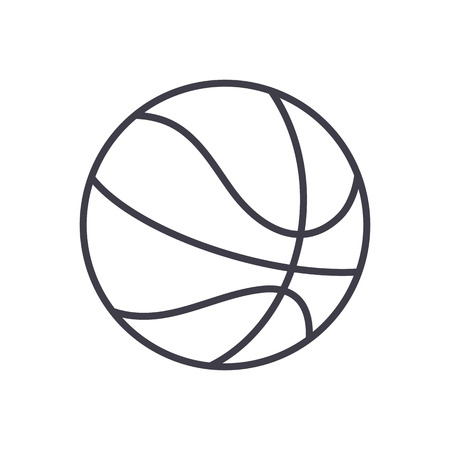 Ilustración de basketball sign vector line icon, sign, illustration on white background, editable strokes - Imagen libre de derechos