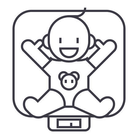 Ilustración de baby on scales vector line icon, sign, illustration on white background, editable strokes - Imagen libre de derechos