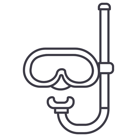 Ilustración de Diving mask  vector line icon illustration on white background, editable strokes - Imagen libre de derechos
