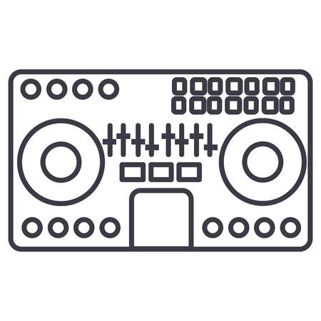 Illustration pour DJ mixer,mixing music party techno vector line icon illustration on white background, editable strokes - image libre de droit