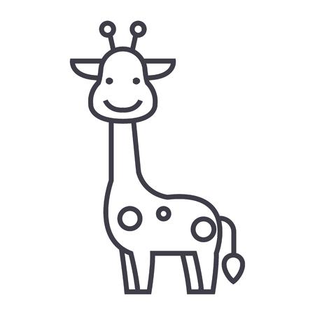 Illustration pour Giraffe vector line icon, sign, illustration on white background. - image libre de droit