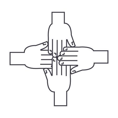 Ilustración de hands together vector line icon, sign, illustration on white background, editable strokes - Imagen libre de derechos