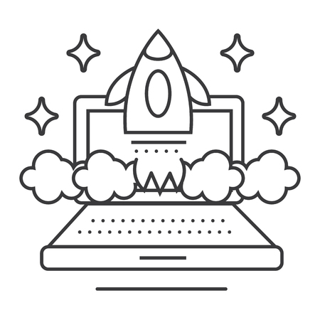 Ilustración de online business launch vector line icon, sign, illustration on white background, editable strokes - Imagen libre de derechos