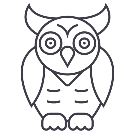 Illustration pour owl,wisdom vector line icon, sign, illustration on white background, editable strokes - image libre de droit
