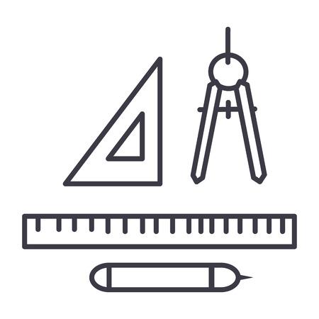Illustration pour rulers, dividers, pen vector line icon, sign, illustration on white background, editable strokes - image libre de droit
