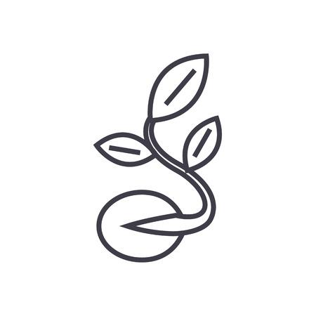 Illustration pour Seed with growing plant vector line icon. - image libre de droit