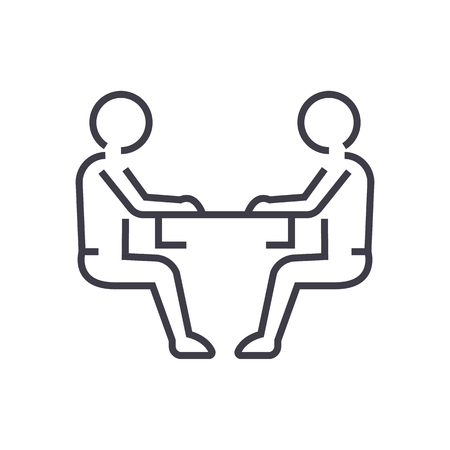 Illustration for Sitting men, conversation line icon, sign, illustration on white background, editable strokes - Royalty Free Image