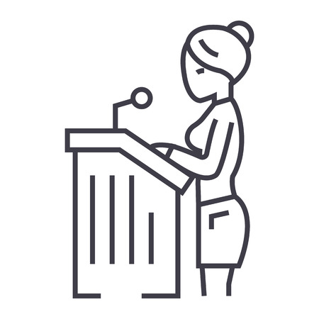 Illustration pour lawyer woman,speech in court vector line icon, sign, illustration on white background, editable strokes - image libre de droit