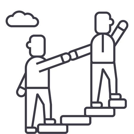 Ilustración de mentor,helping,mentoring,achieving goal vector line icon, sign, illustration on white background, editable strokes - Imagen libre de derechos