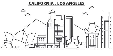 Illustration pour California Los Angeles architecture line skyline illustration. Linear vector cityscape with famous landmarks, city sights, design icons. Editable strokes - image libre de droit