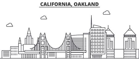 Illustration pour California Oakland architecture line skyline illustration. Linear vector cityscape with famous landmarks, city sights, design icons. Editable strokes - image libre de droit