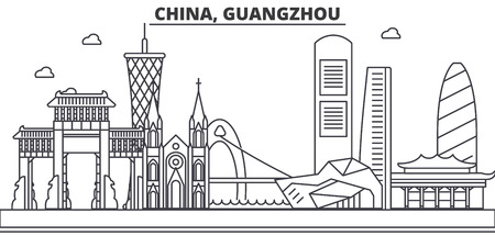 Illustration pour China, Guangzhou architecture line skyline illustration. Linear vector cityscape with famous landmarks, city sights, design icons. Editable strokes - image libre de droit