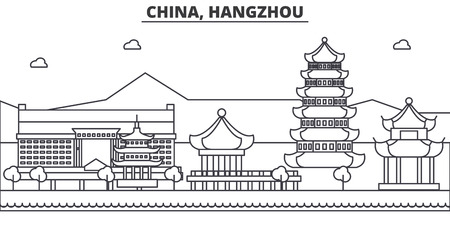 Illustration pour China, Hangzhou architecture line skyline illustration. Linear vector cityscape with famous landmarks, city sights, design icons. Editable strokes - image libre de droit