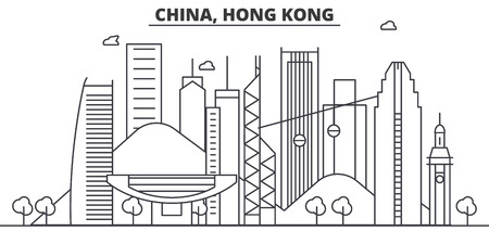 Illustration for China, Hong Kong architecture line skyline illustration. Linear vector cityscape with famous landmarks, city sights, design icons. Editable strokes - Royalty Free Image