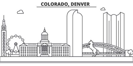 Illustration pour Colorado, Denver architecture line skyline illustration. Linear vector cityscape with famous landmarks, city sights, design icons. Editable strokes - image libre de droit