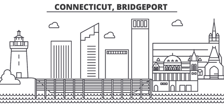 Illustration pour Connecticut, Bridgeport architecture line skyline illustration. Linear vector cityscape with famous landmarks, city sights, design icons. Editable strokes - image libre de droit