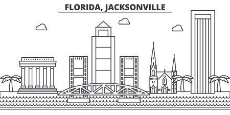 Illustration for Florida, Jacksonville architecture line skyline illustration. Linear vector cityscape with famous landmarks, city sights, design icons. Editable strokes - Royalty Free Image