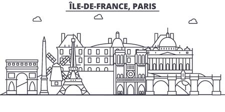 Illustration pour France, Paris architecture line skyline illustration. Linear vector cityscape with famous landmarks, city sights, design icons. Editable strokes - image libre de droit