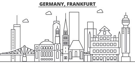 Illustration pour Germany, Frankfurt architecture line skyline illustration. Linear vector cityscape with famous landmarks, city sights, design icons. Editable strokes - image libre de droit