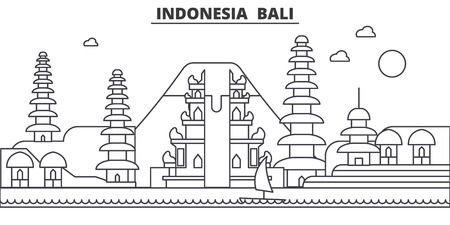 Illustration pour Indonesia, Bali architecture line skyline illustration. Linear vector cityscape with famous landmarks, city sights, design icons. Editable strokes - image libre de droit