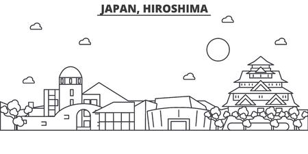 Illustration pour Japan, Hiroshima architecture line skyline illustration. Linear vector cityscape with famous landmarks, city sights, design icons. Editable strokes - image libre de droit