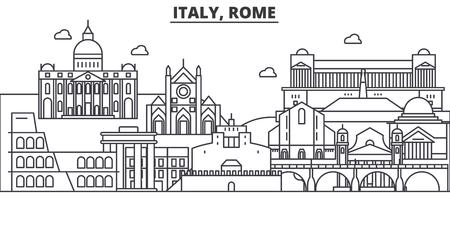 Ilustración de Italy, Rome architecture line skyline illustration. Linear vector cityscape with famous landmarks, city sights, design icons. Editable strokes - Imagen libre de derechos