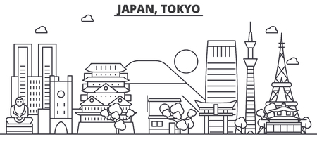 Illustration pour Japan, Tokyo architecture line skyline illustration. Linear vector cityscape with famous landmarks, city sights, design icons. Editable strokes - image libre de droit