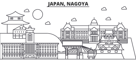 Illustration pour Japan, Nagoya architecture line skyline illustration. Linear vector cityscape with famous landmarks, city sights, design icons. Editable strokes - image libre de droit