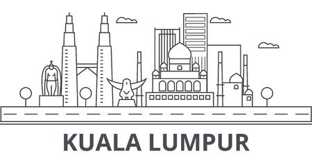 Illustration pour Kuala Lumpur Malaysia architecture line skyline illustration. Linear vector cityscape with famous landmarks, city sights, design icons. Editable strokes - image libre de droit