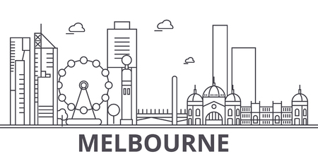 Illustration pour Melbourne architecture line skyline illustration. - image libre de droit