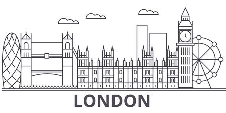 Illustration pour London architecture line skyline illustration. - image libre de droit