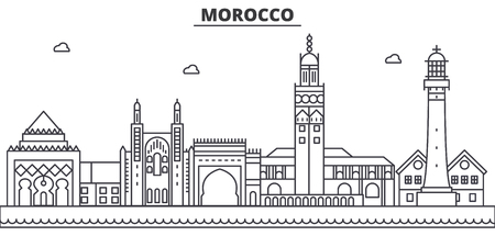 Illustration pour Morocco architecture line skyline illustration. - image libre de droit