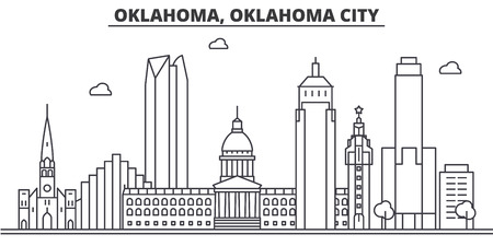 Illustration pour Oklahoma, Oklahoma City architecture line skyline illustration. - image libre de droit
