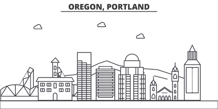 Illustration pour Oregon, Portland architecture line skyline illustration. - image libre de droit