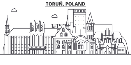 Illustration pour Poland, Torun architecture line skyline illustration. - image libre de droit