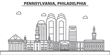 Illustration pour Pennsylvania, Philadelphia architecture line skyline illustration. - image libre de droit