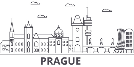 Illustration pour Prague architecture line skyline illustration. - image libre de droit