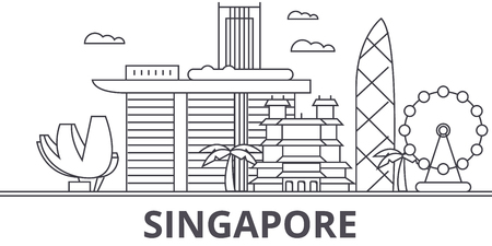 Photo pour A Singapore architecture line skyline illustration. - image libre de droit